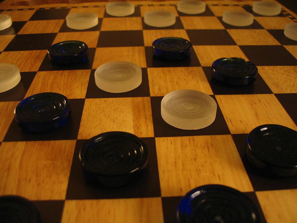 Checkers game in progress